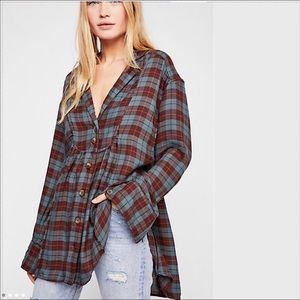 NWT Free People All about the Feels Plaid Top
